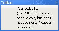 Die Kontaktliste steht nicht zur Verfügung